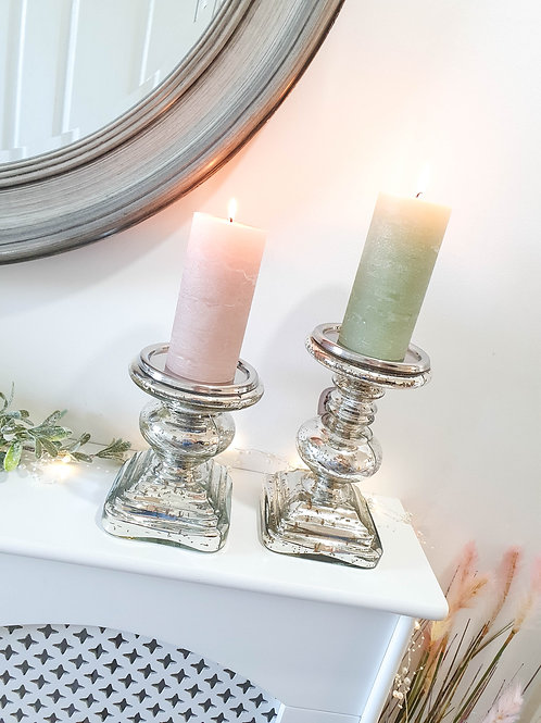 Silver Mirror Glass Pillar Candle Holder