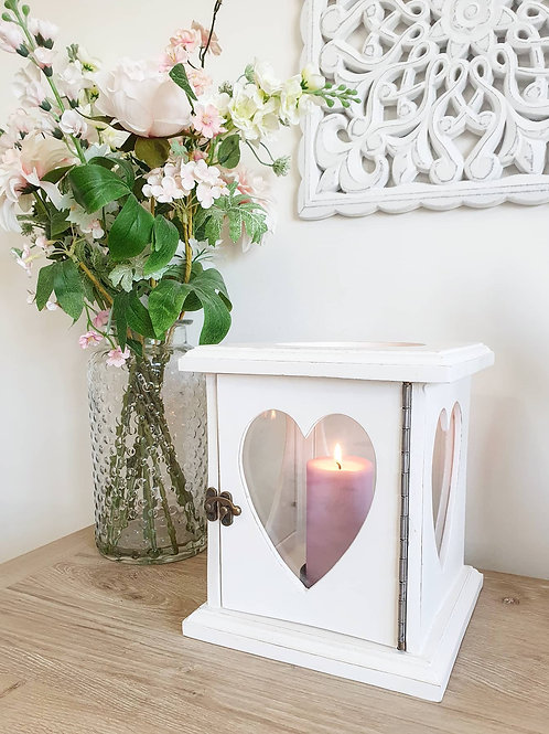 White Mango Wood Heart Lantern