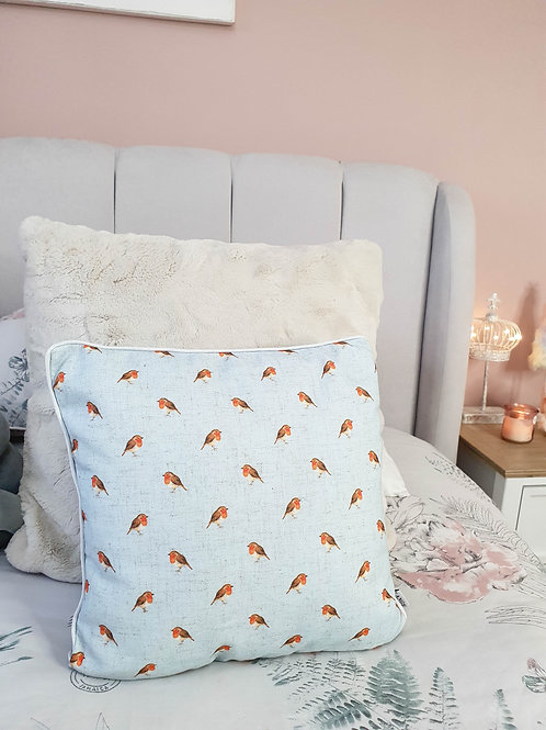 Light Blue Repeat Robin Cushion