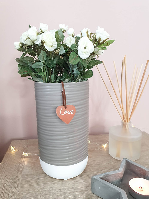 Grey & White Vase With Love Tag