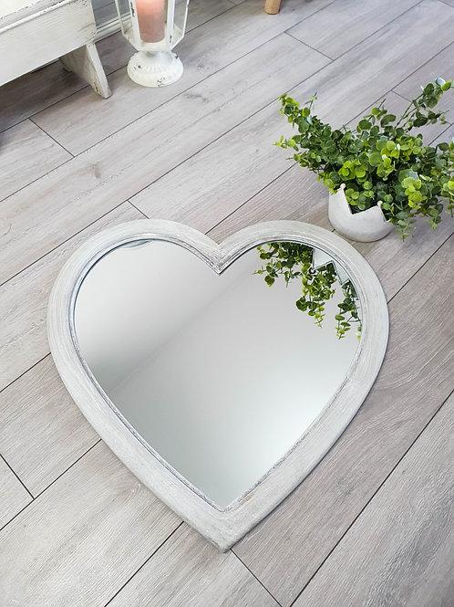 Grey Washed Heart Wall Mirror
