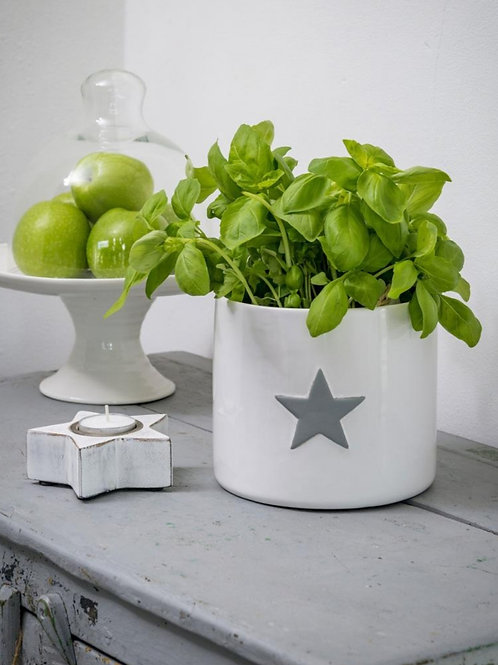 Large White Pot With Grey Star **IMPERFECT**