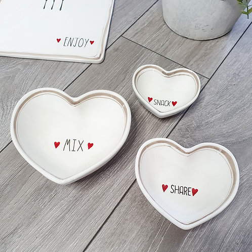 Red Heart Shaped Snack Dishes