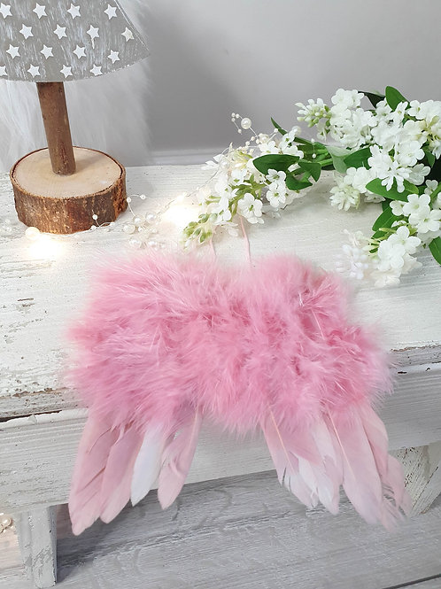 Fluffy Pink Feather Angel Wings