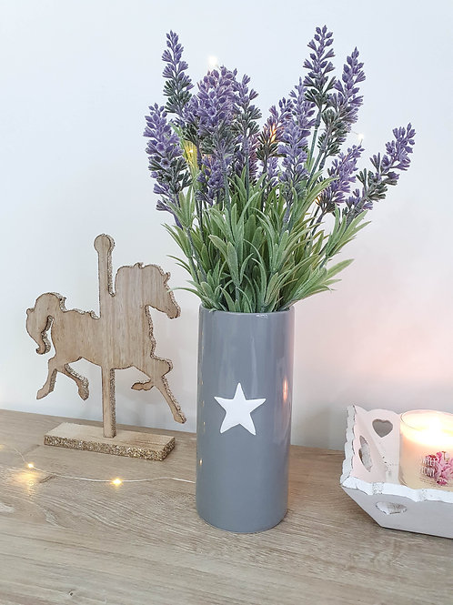 Grey Vase With White Star **IMPERFECT**
