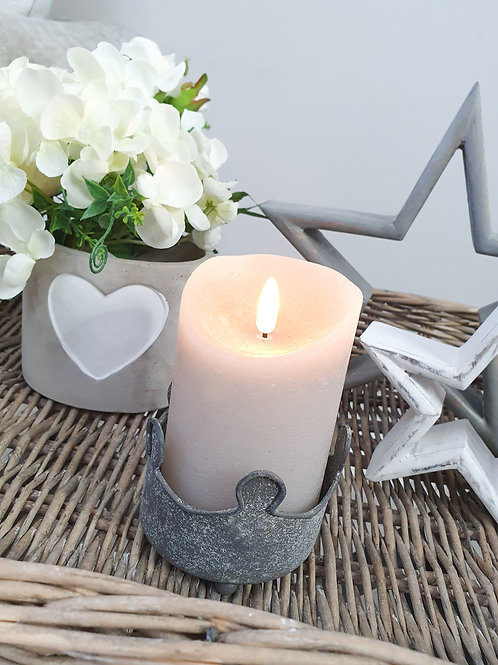 Grey Flickering Flame LED Pillar Candle