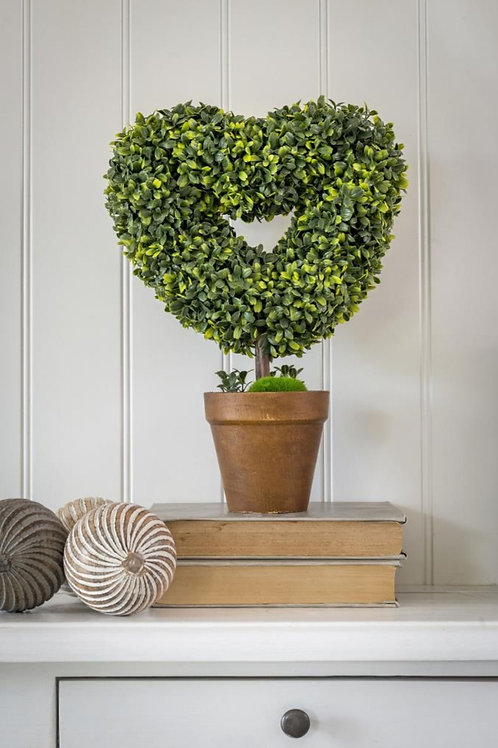 Faux Heart Shaped Topiary In Pot