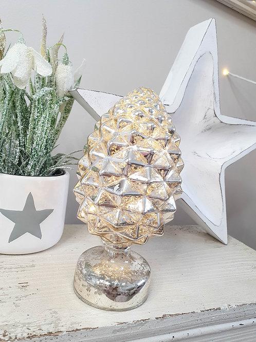 Light Up Gold Fir Cone Decoration