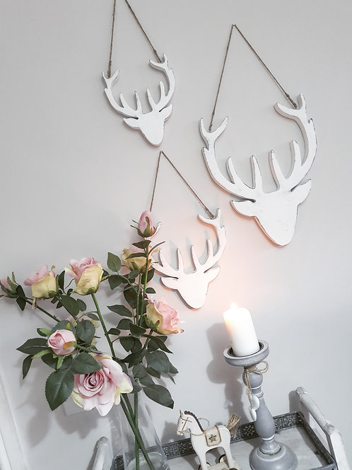 White Hanging Stag Head Decoration S/3