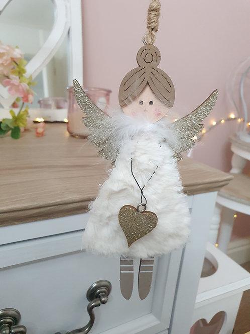 Fluffy White Angel Hanging Decoration