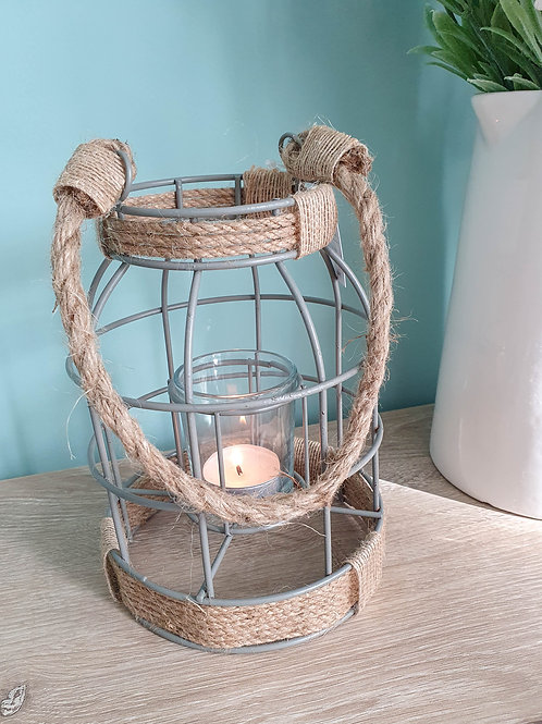 Grey Wire Lantern With Chunky Rope