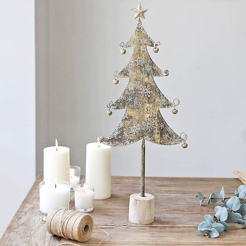 Gold Christmas Tree Figure With Bells