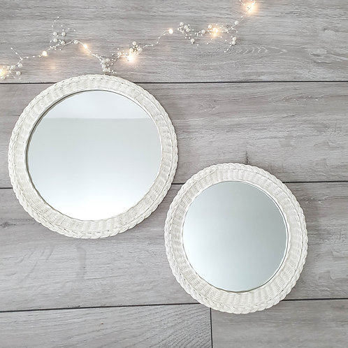 White Braid Effect Round Mirror