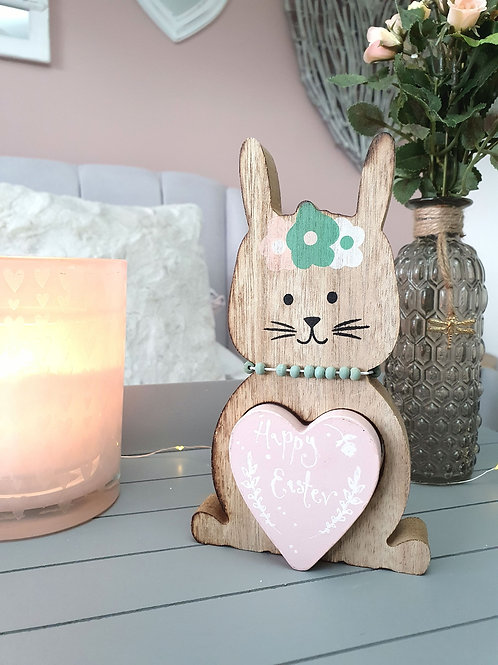 Pastel Pink Heart Easter Bunny Decoration