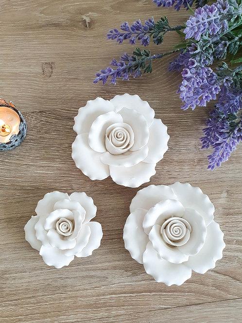Antique White Ceramic Rose Decoration