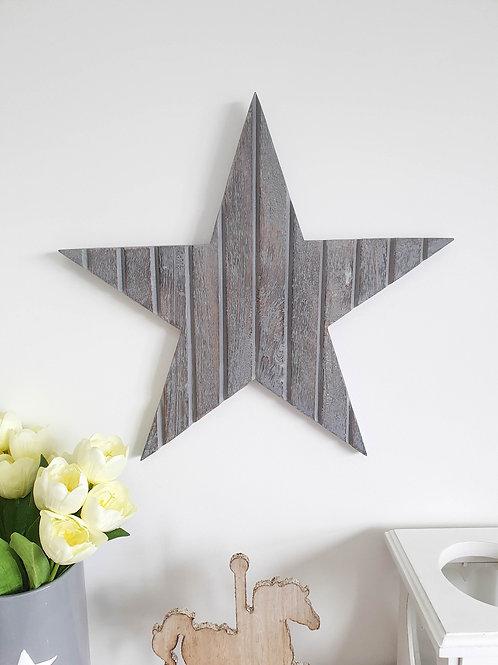 Grey T&G Wooden Star Wall Decor