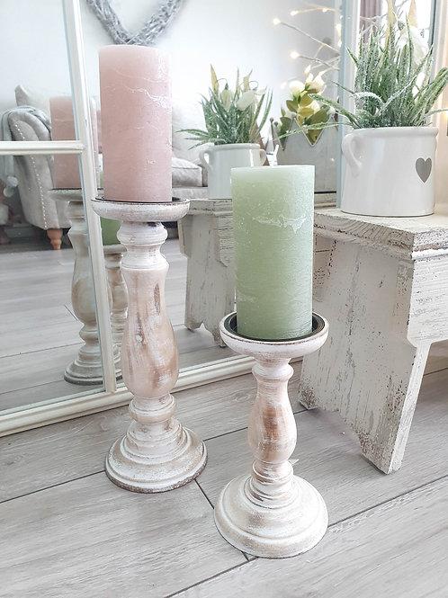 Rustic White Wash Wooden Pillar Candlesticks