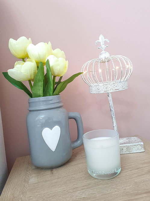 Grey Jar With White Heart **IMPERFECT**