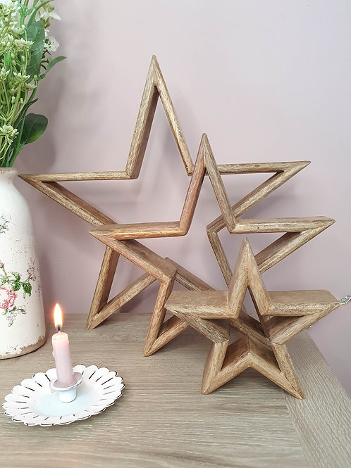 Natural Free Standing Wooden Stars - Set Of 3