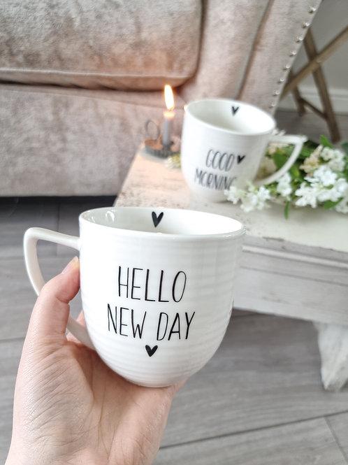 Hello New Day White Mug