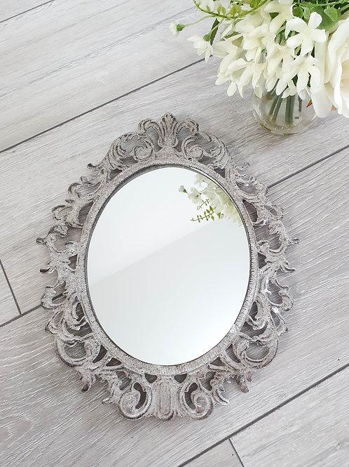 Rustic Grey Iron Fleur De Lis Mirror