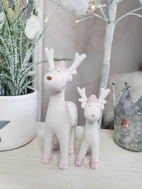 Pink Glitter Reindeer Figure