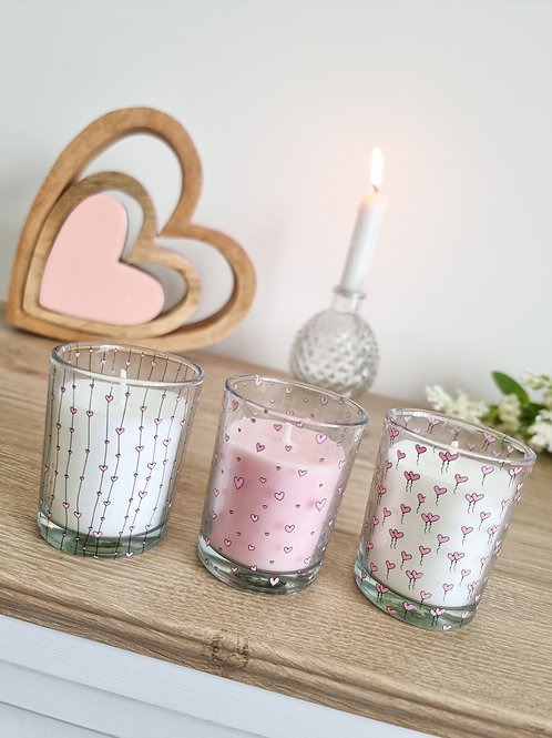 Pink & White Glass Heart Mini Candles