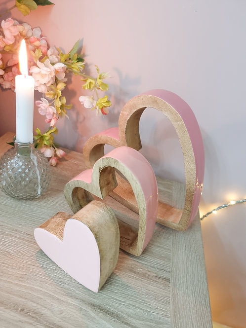 Glossy Ombre Pink Sleeping Hearts
