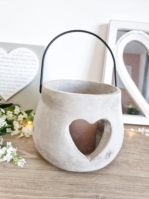 Chunky Grey Concrete Heart Lantern