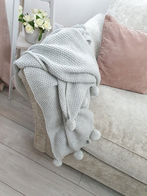 Grey Knitted Pom Pom Throw
