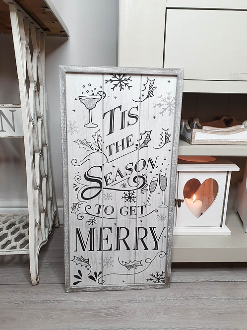 Grey Tis The Season Tall Plaque