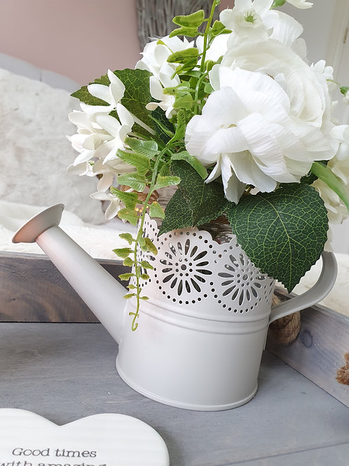 Light Grey Zinc Watering Can Planter