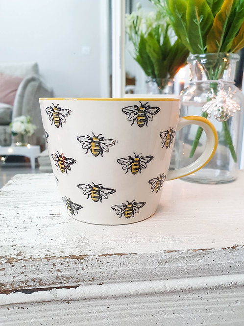Hand Painted Yellow Bee Mug
