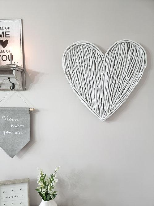 White Wicker Wall Heart