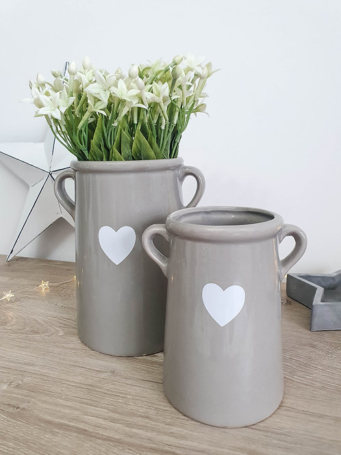 Grey & White Heart Vase With Handles