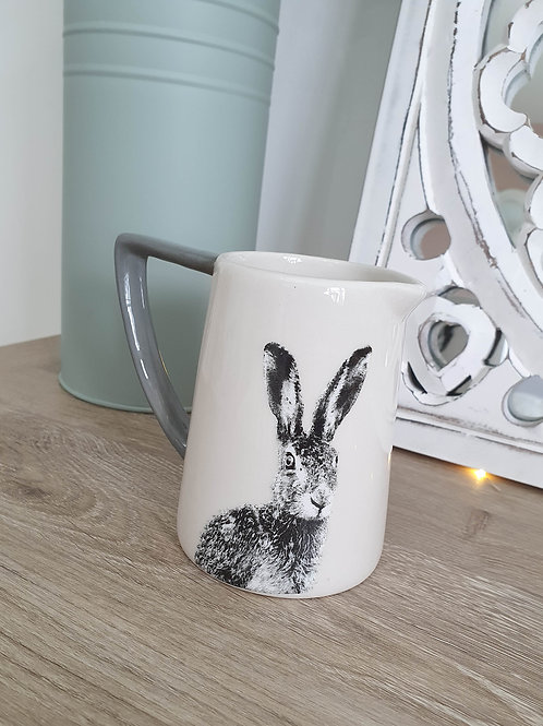 White Hare Jug With Grey Handle