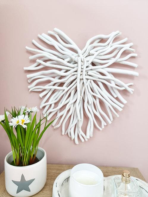 White Wild Twig Wall Heart