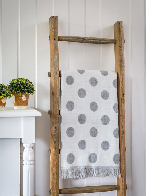 Grey Polka Dot Two Sided Throw