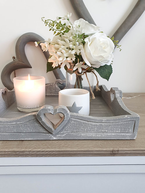 Distressed Grey Heart Square Tray
