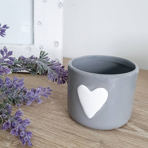 Grey Pot With White Heart Medium **IMPERFECT**