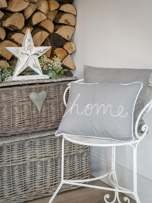Dove Grey & White Home Cushion