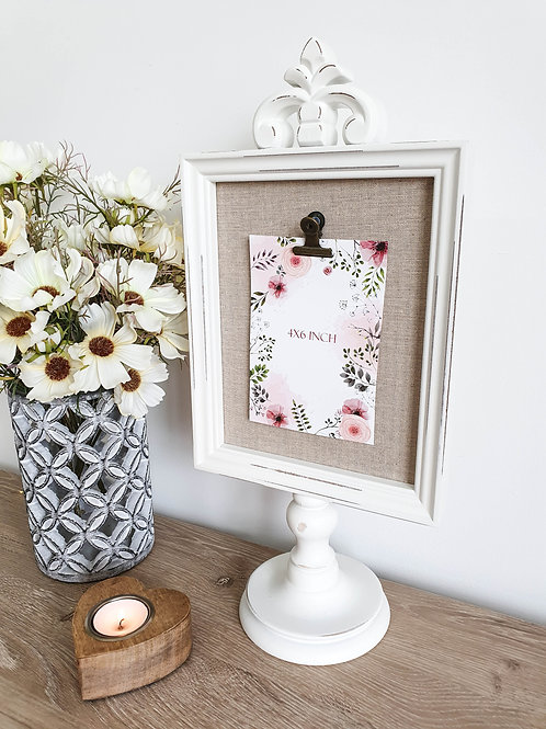Distressed French White Photo Holder