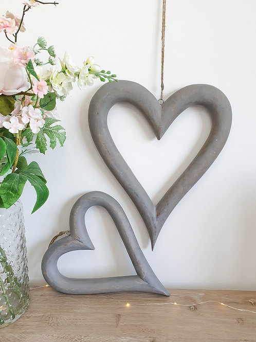 Distressed Grey Hanging Hearts S/2