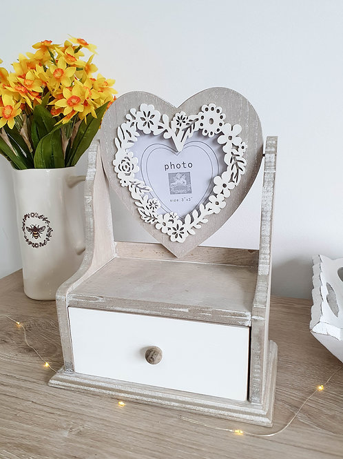 Shabby Chic Heart Photo Frame With Drawer