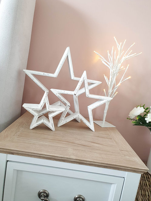 Distressed White Mantle Stars S/3