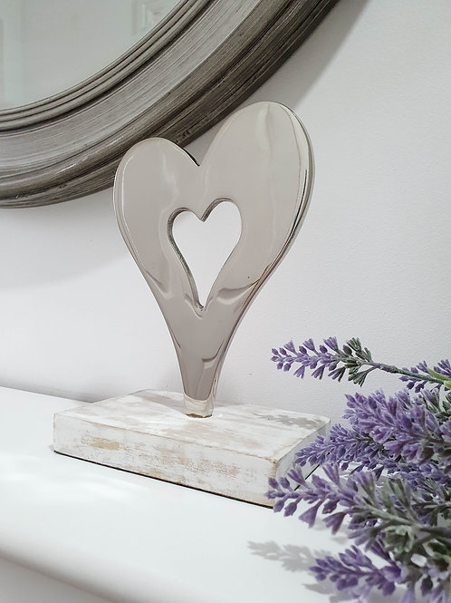 Stylised Silver Heart Decoration