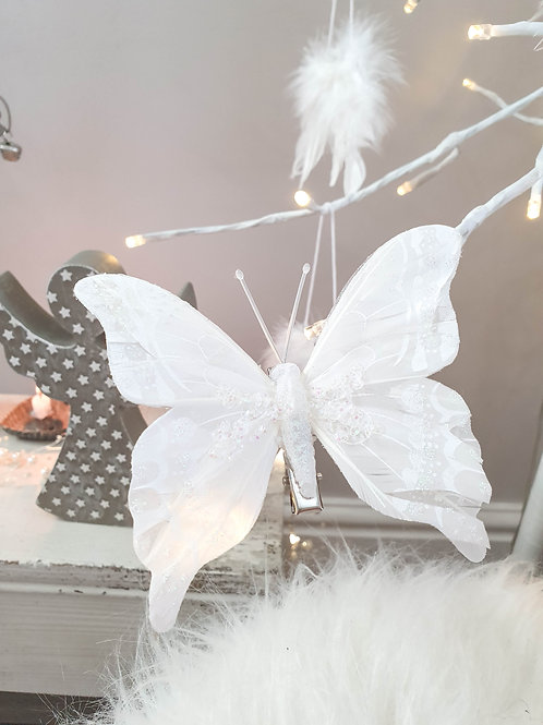 White Beaded Butterfly Clips