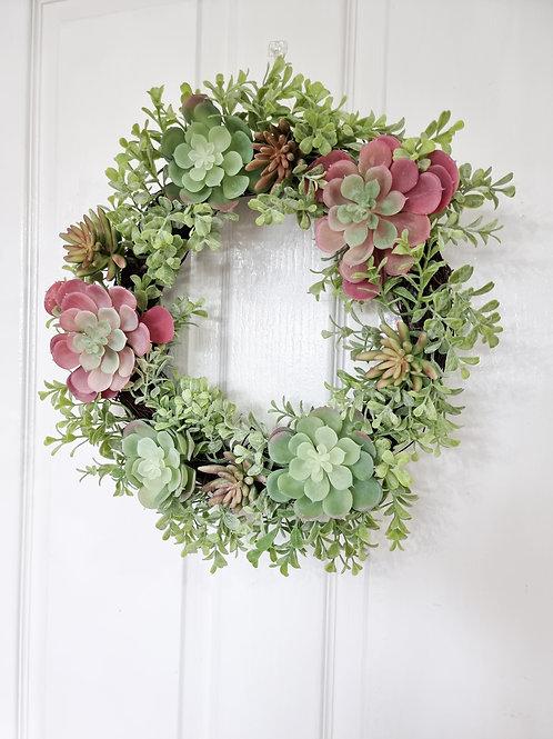 Mixed Faux Succulents Wreath