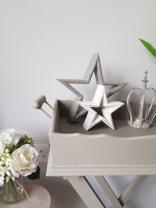 Grey & White Nordic Distressed Stars
