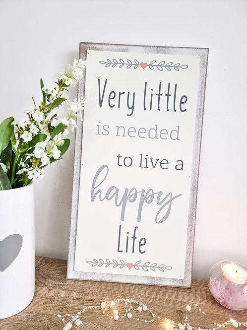 A Happy Life Tall Heart Plaque